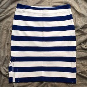 J. CREW Blue/ White Pencil-Skirt